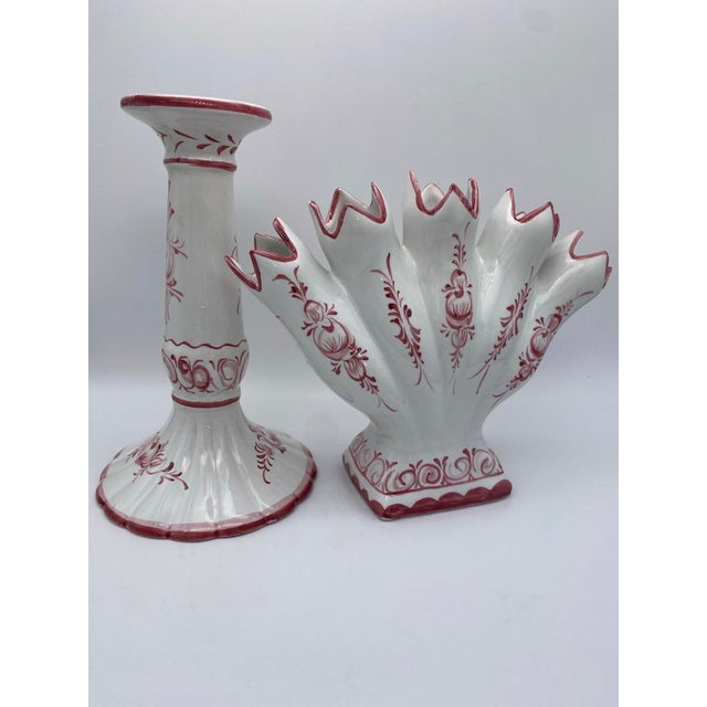 Faience red and white ceramic hand-painted candle holder and matching tulipiere fan vase made in Portugal. Excellent...