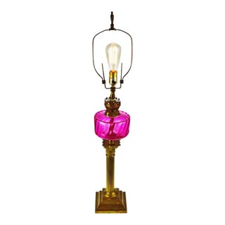 Victorian English Made Cranberry Glass Font Duplex Oil Lamp - Electrified For Sale