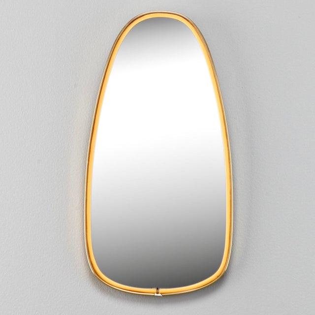 Italian Mid-Century Brass and Yellow Enamel Ovoid Mirror - Image 2 of 3