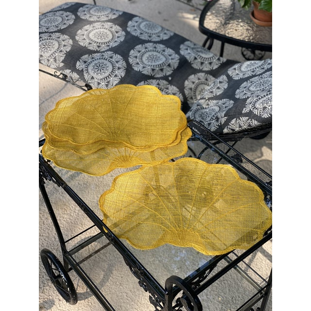 Hollywood Regency Vintage Yellow Scallop Shell-Shaped Woven Placemats- Set of 4 For Sale - Image 3 of 5