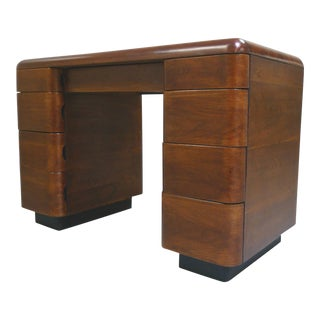 1940s Art Deco Rosewood Veneer Desk by Paul Goldman