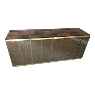 Mid-Century Modern Ello Mirror & Brass Credenza Sideboard For Sale