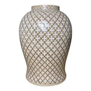Large Hand Painted Thai Ceramic Vase For Sale