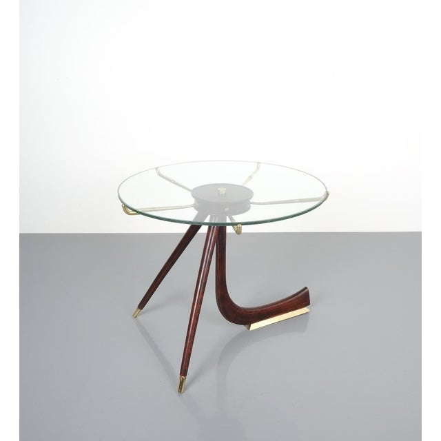 Brevettato Wood Brass Coffee or Side Table, Italy 1955 For Sale - Image 12 of 12