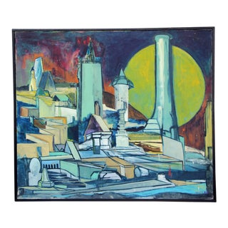 Louise Odes Neaderland 1964 Architectural Painting For Sale