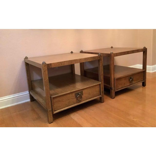 Henredon Vintage Henredon Wood + Brass End Tables - a Pair For Sale - Image 4 of 13