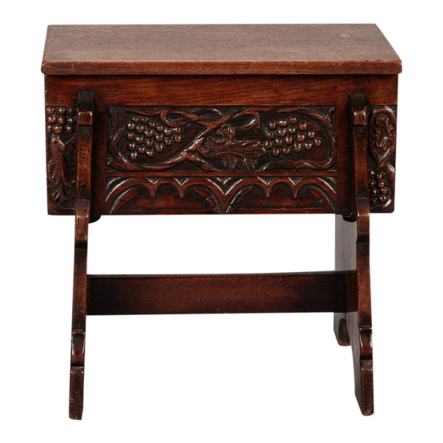 Carved French Oak Flip Top Stool With Grapes For Sale