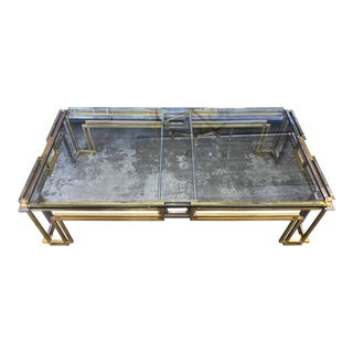 Pierre Cardin Style Brass & Chrome Glass Top Coffee Table For Sale