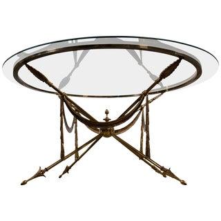 Neoclassical Brass Jansen Style Gueridon Coffee Table on Arrow Legs For Sale