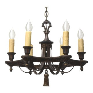 Cast Iron Polychrome Chandelier For Sale