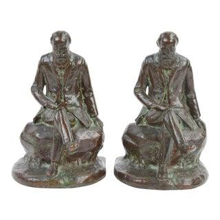 John Burroughs Naturalist Conservationist Bronze Bookends For Sale
