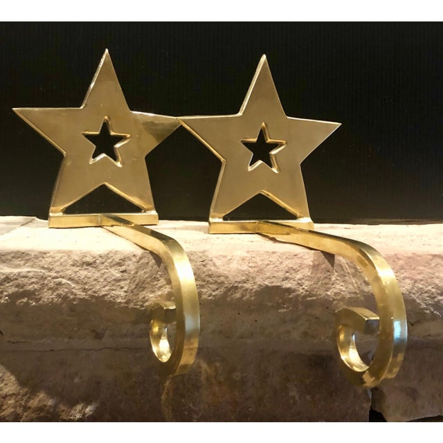 Vintage Brass Christmas Holiday Star Stocking Hooks - Set of 2 For Sale - Image 10 of 13