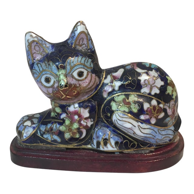 Vintage Chinese Cloisonné Enameled Cat - Image 1 of 3