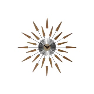 1980s Vintage Mid-Century Modern Walnut and Aluminum Wall Clock For Sale