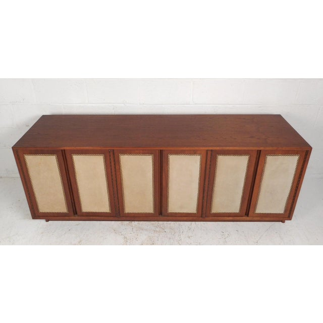Mid-Century Modern Vintage Modern Walnut Credenza With an Upholstered Front For Sale - Image 3 of 11