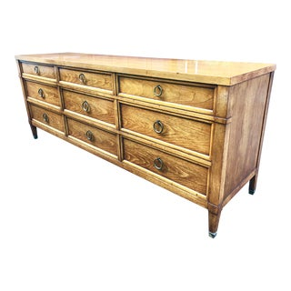 1960s Traditional Baker Furniture Long Lowboy Dresser