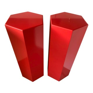 Hexagonal 1980s Red Pedestals - a Pair For Sale