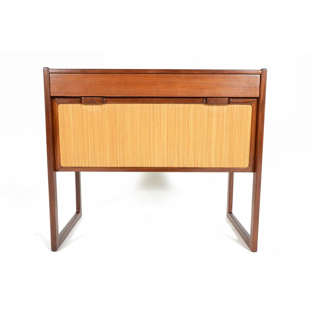 Danish Modern Teak and Grasscloth Entry Chest - Image 2 of 10