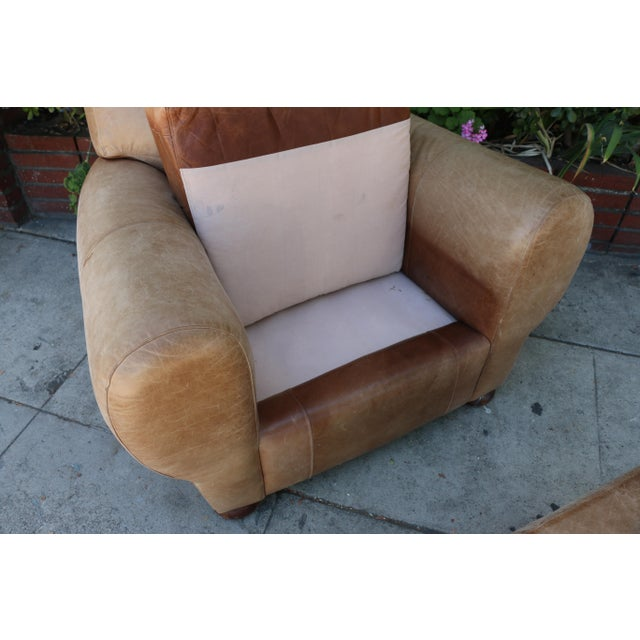 Contemporary Vintage Leather Club Chair and Ottoman Set For Sale - Image 3 of 8