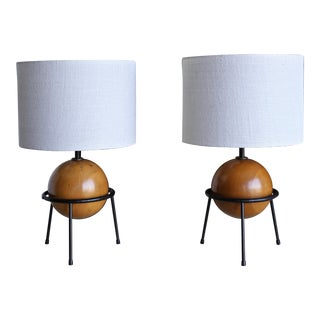 California Modern Iron and Wood Lamps by Albert Blake - a Pair For Sale