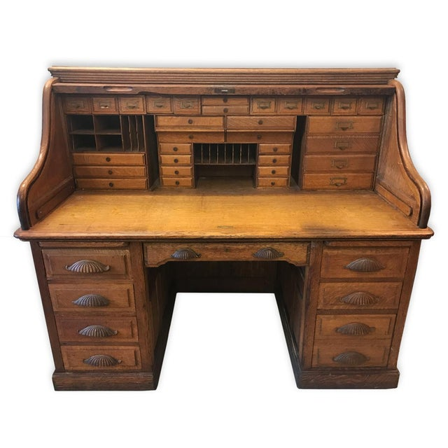 Country Antique Large Shelbyville Tiger Oak Roll Top Secretary Office Desk  For Sale - Image 3 - Antique Large Shelbyville Tiger Oak Roll Top Secretary Office Desk