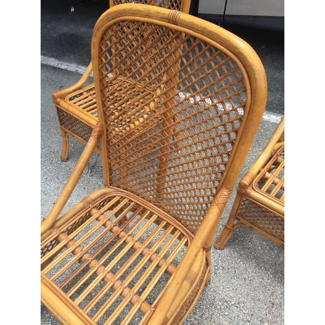 1970s Vintage Chippendale Style Rattan Bamboo Dining Chairs- Set of 6 For Sale - Image 4 of 11