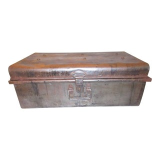 Vintage Restoration Hardware Metal Travel Military Trunk For Sale