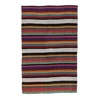 1960's Vintage Turkish Jajim Kilim Flat-Weave Rug- 5′4″ × 8′5″
