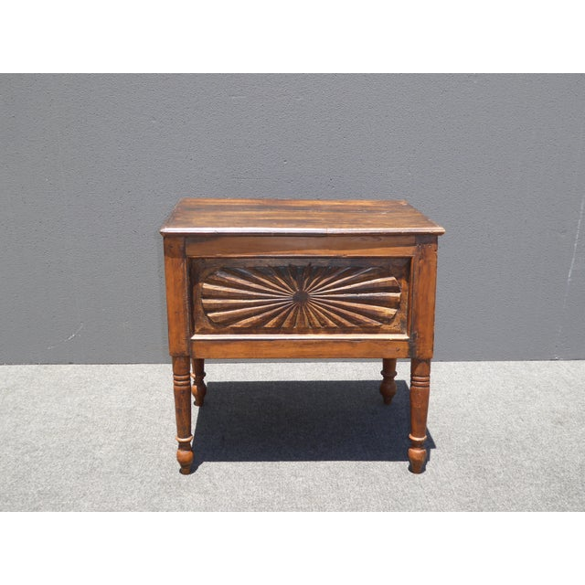 Spanish Style Carved Wood Chest End Table - Image 3 of 11