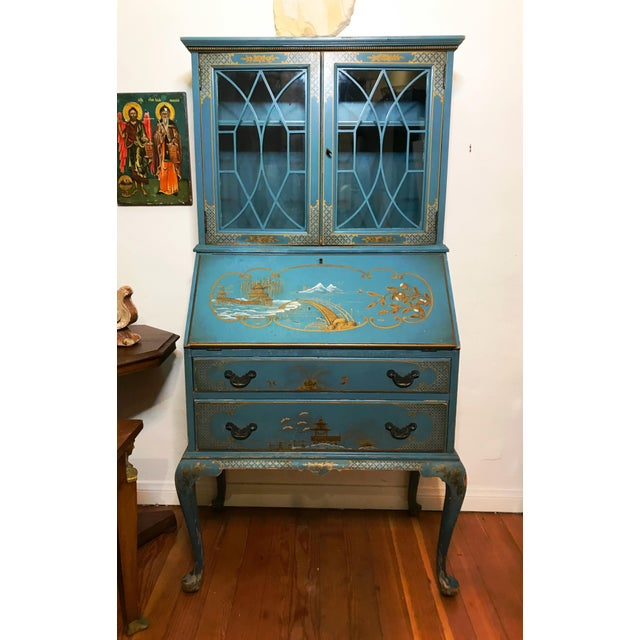 Blue Mid Century Hand Painted Chinoiserie Blue Secretary Desk For Sale - Image 8 of 12