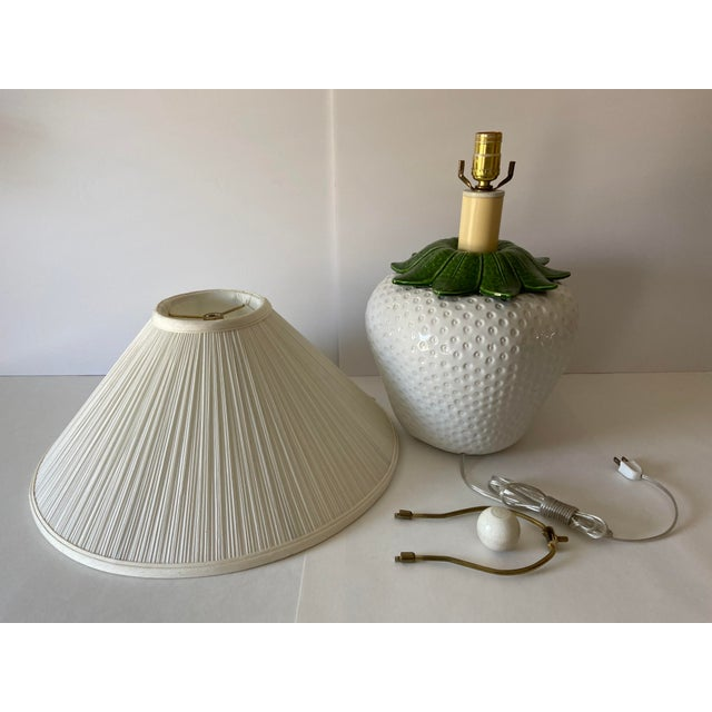White Italian Strawberry Lamp & Shade For Sale - Image 8 of 10