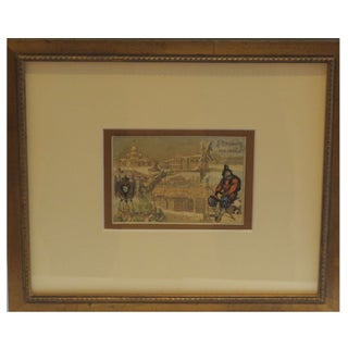 Early 1900s Framed French City Card, St Petersburg
