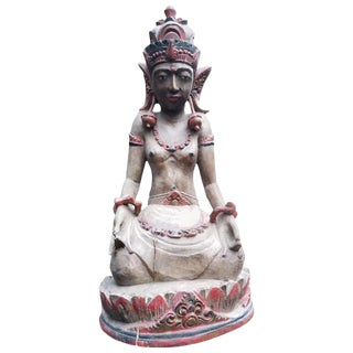 Carved Wood Hindu or Tibetan Crowned Goddess For Sale