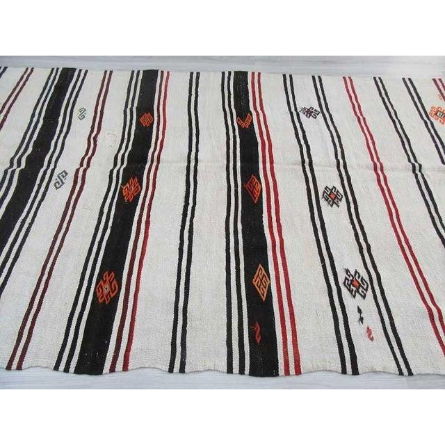"Vintage Striped Turkish Hemp Kilim Rug - 6'11"" X 13'9"" For Sale - Image 4 of 6"