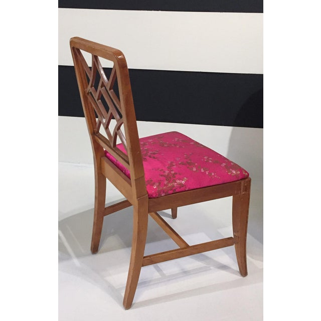 1940's Fretwork Greek Key Side Chair With Asian Upholstery - Image 6 of 9