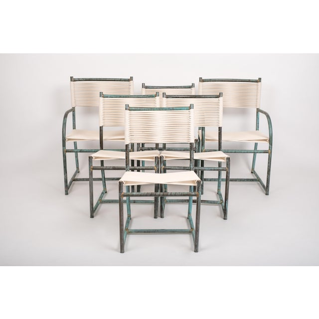 Set of Six Early Model Bronze Patio Dining Chairs by Walter Lamb For Sale - Image 11 of 11