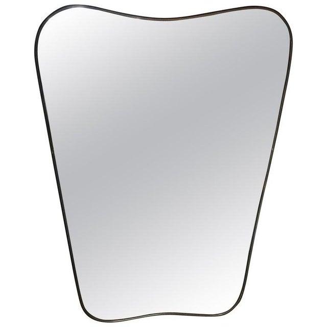 1950s Italian Minimal Curvilinear Brass Mirror For Sale - Image 9 of 9
