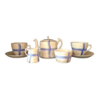 English Hand Painted Tea Set for Two For Sale
