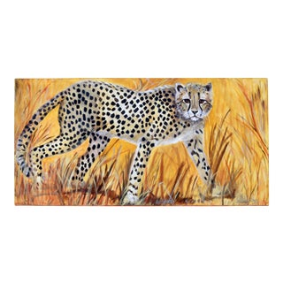 "36"" Original Cheetah Oil Painting by Gilian Levy For Sale"