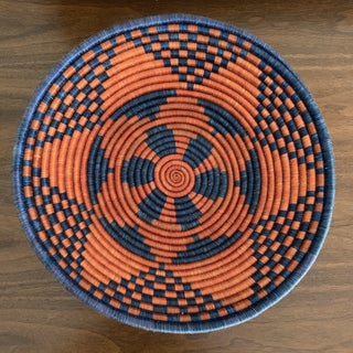 "Navy Blue and Deep Red African Geometric Fair Trade 14"" Tribal Basket Preview"