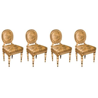 Directoire Style Antique Dining Chairs - Set of 4 For Sale