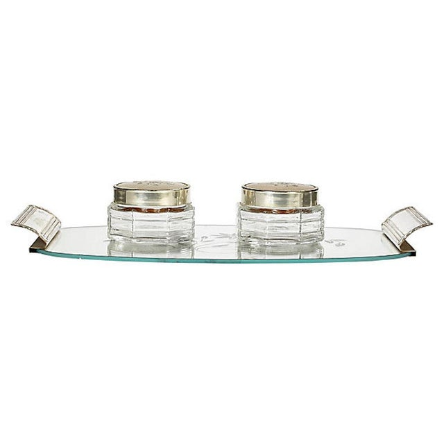 Art Deco Set Of Three Etched Fl Mirrored Vanity Tray With Two Matching Glass Jars