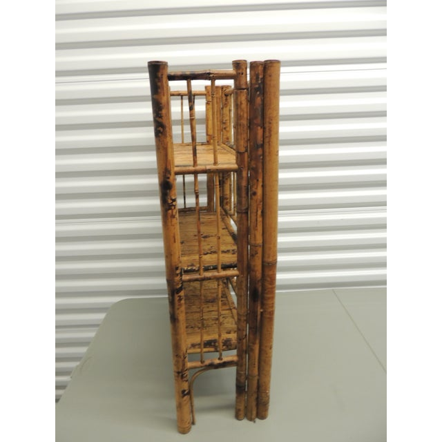 Antique English Country Faux Bamboo Folding Etagere - Image 4 of 6