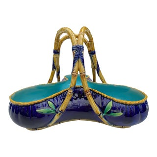 George Jones Majolica 'Rose Basket' in Cobalt Blue, Circa 1872 For Sale