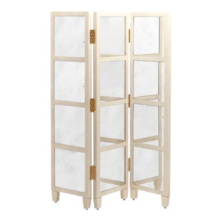 Made Goods Modern Cream Shagreen and Antique Mirror Screen/Room Divider For Sale