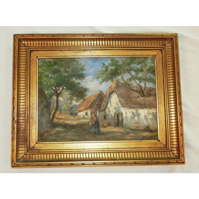 Gold Early 20th Century Antique Argentinian Rural Scene Oil on Canvas Painting For Sale - Image 8 of 8