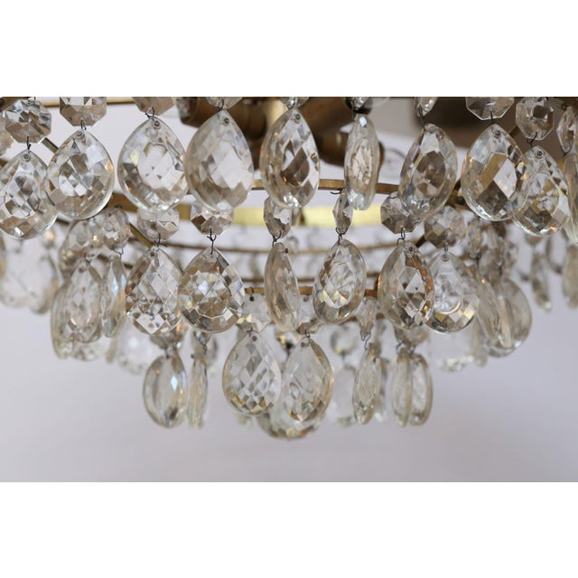 Gilt Brass and Crystal Chandelier by Palwa For Sale In Houston - Image 6 of 12