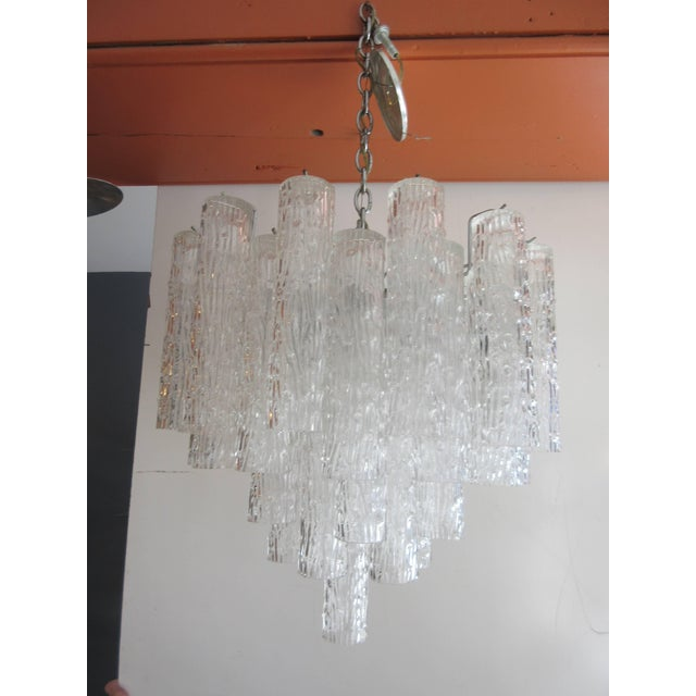 "Nice scale and size Venini Tronchi ""log"" crystal chandelier. Fixture is made up of 40 tube crystals. Crystals are 10"" long..."