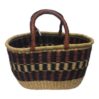 Leather Handle Tribal Basket