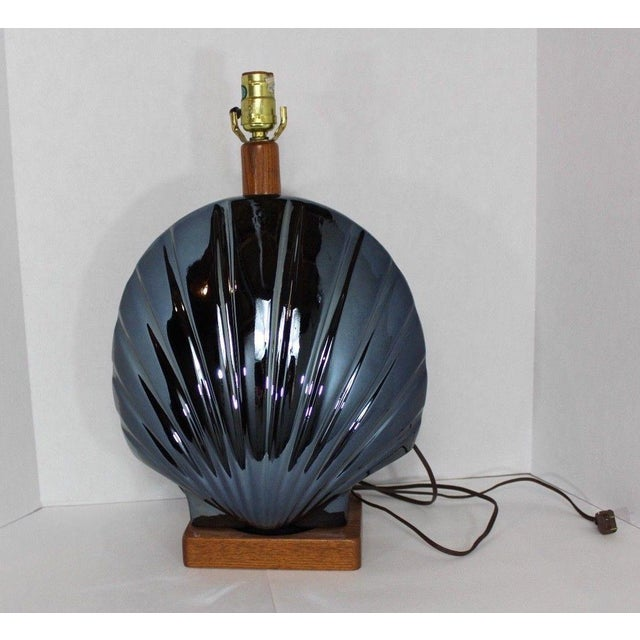 1950s Vintage Art Deco Style Large Metallic Blue Shell Table Lamp For Sale - Image 10 of 10